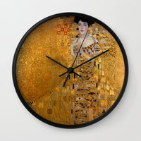 gustav klimt Wall Clocks featuring Adele Bloch-Bauer I by Gustav Klimt by Palazzo Art Gallery