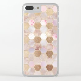 Hexagonal Honeycomb Marble Rose Gold Clear iPhone Case