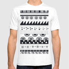 tribal pattern Mens Fitted Tee White MEDIUM