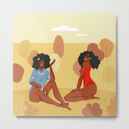 Hand drawn illustration with young happy beauty females group, Colorful seasonal poster collection Metal Print