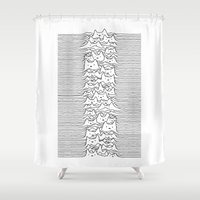 joy division Shower Curtains featuring Furr Division White by Tobe Fonseca
