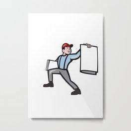 Newsboy Selling Newspaper Isolated Full Cartoon Metal Print