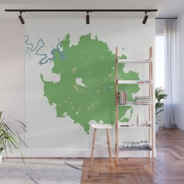 Austin Texas Minimalist Map (Cucumber) Wall Mural
