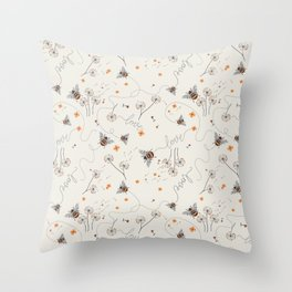 Busy bee doodle Throw Pillow