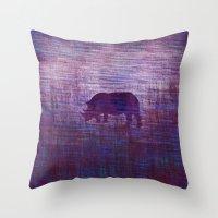 rhino Throw Pillows featuring Rhino by Inmyfantasia