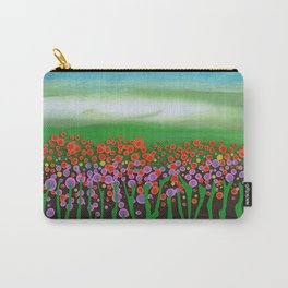 The meadow - A landscape in the background a blue sky and wildflowers Carry-All Pouch