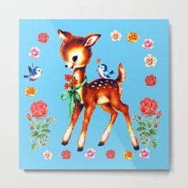 Cute Vintage Kitsch Deer Metal Print