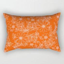 Hand drawn white bright orange modern floral Rectangular Pillow