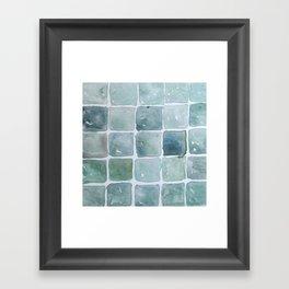 Seafoam Tiles - Watercolor Framed Art Print