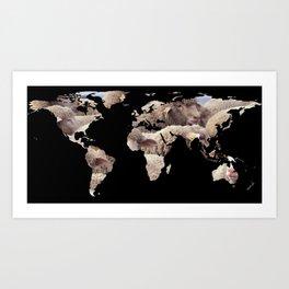 World Map Silhouette - Sheep Herd Art Print