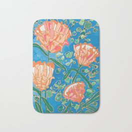 Four Orange Proteas Bath Mat