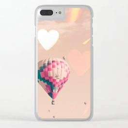 Hot air balloon nursery and heart bokeh on pale pink Clear iPhone Case
