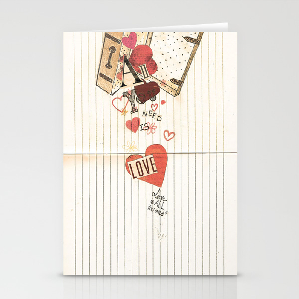 All You Need Is Love, Love Is All You Need Stationery Cards by Angelcapa CRD8055433
