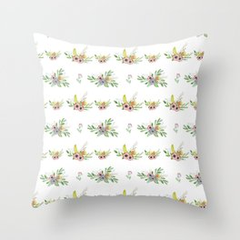 Modern coral yellow green watercolor cute flowers Throw Pillow
