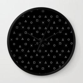 black gaming pattern - gamer design - playstation controller symbols Wall Clock