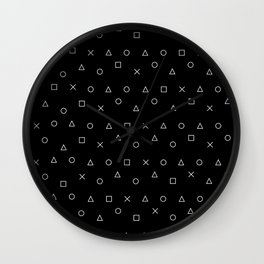 black gaming pattern - gamer design - playstation controller symbols Wall Clock