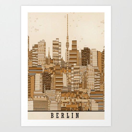 berlin skyline vintage  Art Print