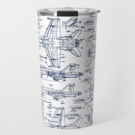 F-18 Blueprints // Blue Ink Travel Mug