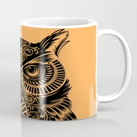 solid Mugs featuring Warrior Owl 2 by Rachel Caldwell