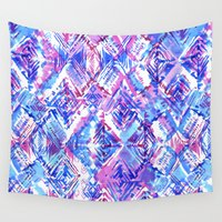 ikat Wall Tapestries featuring ikat #5c by Schatzi Brown