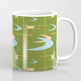Mid Century Modern Boomerangs on Lime Green Coffee Mug