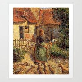 Camille Pissarro - Shepherdess bringing sheep in Art Print