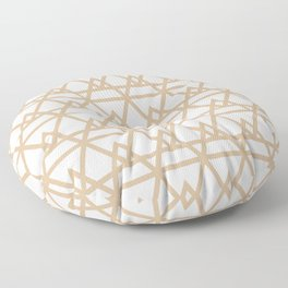 Pyramidal 2 Geometric Pattern in Natural Wood Beige and Off-White Floor Pillow