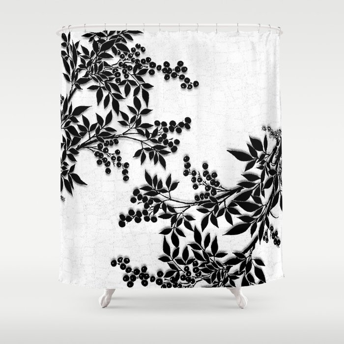 Black And White Leaf Toile Shower Curtain By Saundramyles