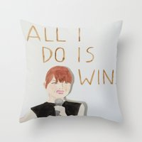 emma stone Throw Pillows featuring All I do is win, Emma stone  by Thespanishlady