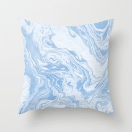 Ryoko - spilled ink abstract painting marble marbled paper art minimal swirl modern water ocean wave Throw Pillow