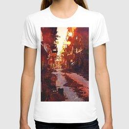 Watercolor painting of street scene in the Himalayan city of Patan- Kathmandu Valley, Nepal T-shirt
