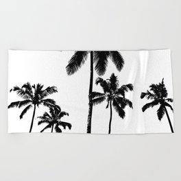 Monochrome tropical palms Beach Towel