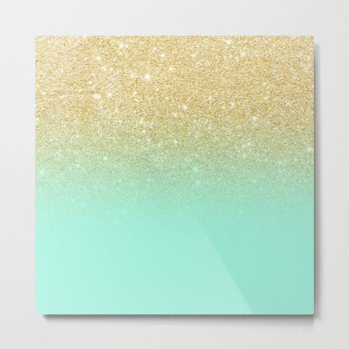 Modern gold ombre mint green block Metal Print