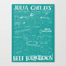 Julia Child's Beef Bourguignon Hand-Drawn Recipe Art Print in Le Cruset Caribbean Canvas Print