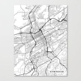 Birmingham Map, Alabama USA - Black & White Portrait Canvas Print
