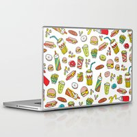 junk food Laptop & iPad Skins featuring Awesome retro junk food icons by Little Smilemakers Studio