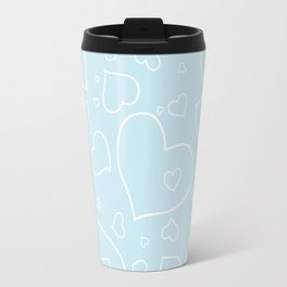 Palest Blue and White Hand Drawn Hearts Pattern Travel Mug
