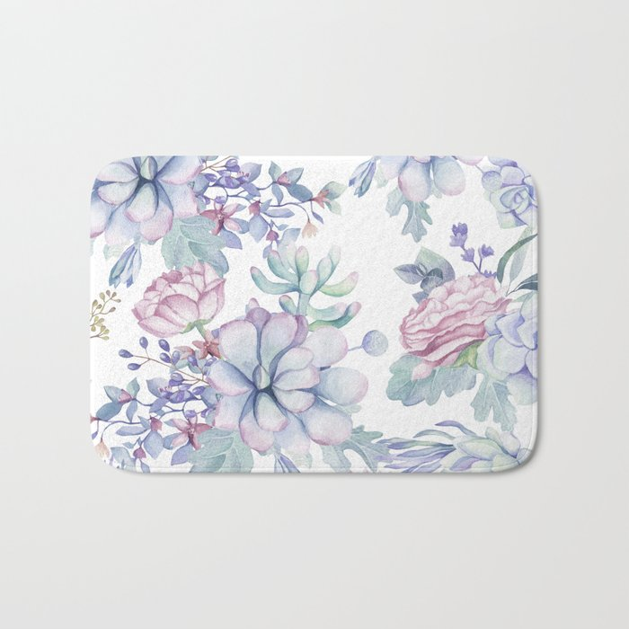 Pretty Blue Pink Succulents Garden Bath Mat