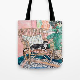 Two Cats - Pink Interior with Cane Chair and Plants Tote Bag