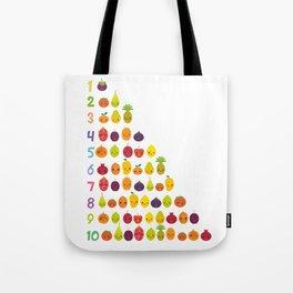 numbers for preschool kindergarten kids kawaii fruit from one to ten Tote Bag