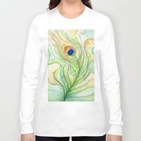 peacock feather Long Sleeve T-shirts featuring Peacock Feather by Olechka