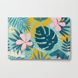Hawaii Pastel Pink & Mint Green Tropical Floral-Prints Metal Print