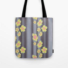 Striped Hibiscus Print Tote Bag