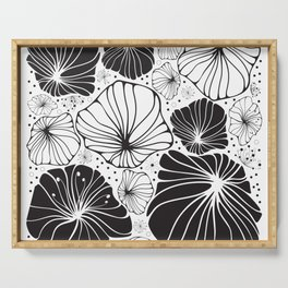 Flowers in black and white Serving Tray