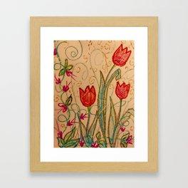 Tulips spring energy Framed Art Print