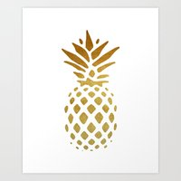 pineapple Art Prints featuring Golden Pineapple by Pati Designs & Photography