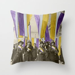 Feb 1917: On their day off, Working Women protest in front of White House for the right to vote Throw Pillow