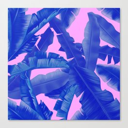 tropical banana leaves pattern,pink,blue Canvas Print