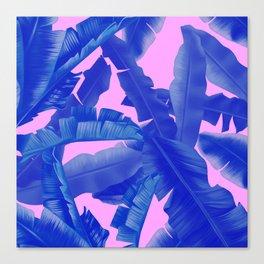 tropical banana leaves pattern,pink,blue Canvas Print