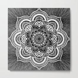 Mandala Slate Gray Colorburst Metal Print